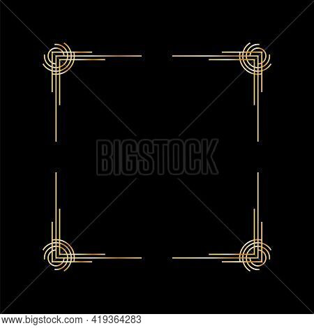 Art Deco Frame. Artwork Graphic Pattern. Orante Wedding Invintation Background Template. Vintage Ret