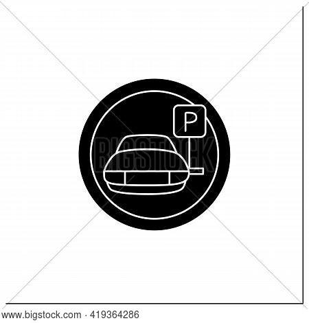 Parking Symbol Glyph Icon. Car Park Place. Parking Lot. Road Sign. Universal Public Building Signs C