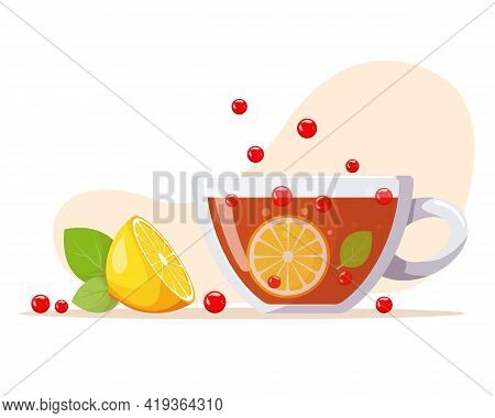 Aromatic Tea In Glass Cup With Berries, Lemon, Mint Leaves. Summer Refreshing Drink With Fruit. Ferm