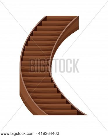 Modern Wooden Staircase. Isolated Cartoon Flat Vector Icon Of Stairs. Element For Hotel Lobby