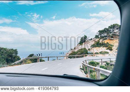 Palma De Mallorca Or Majorca, Balearic Islands, Spain, Part Of Winding Road Leading To Formentor, Po
