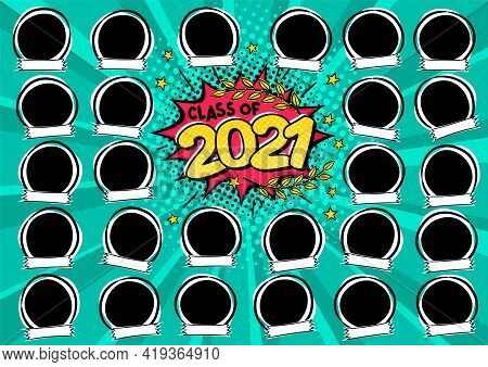Photo Frame For Class Of 2021 In Pop Art Style. A Photo Album For A Graduating Class Or Community. V