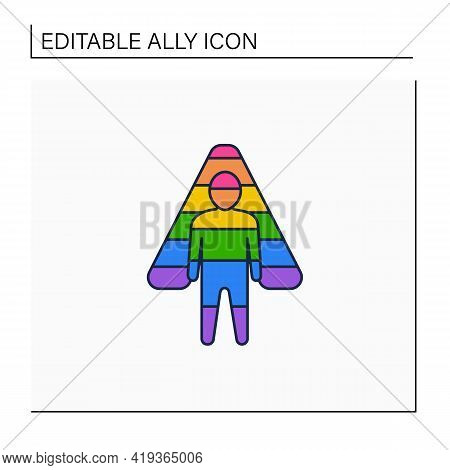 Ally Line Icon. Lgbtq Friendly. Supports Equal Civil Rights, Gender Equality, And Social Movements.