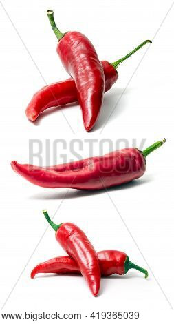 Red Hot Chili Pepper Isolated On White Background. Spice For A Delicious Meal. A Set Of Three Images