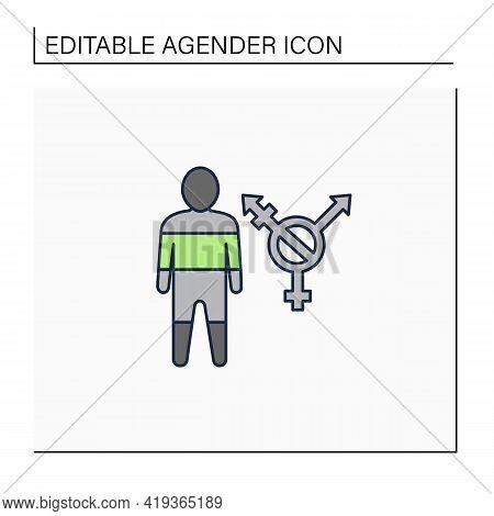 Agender Line Icon. Genderless, Gender Free, Non-gendered, Or Ungendered People. Identify As Having N