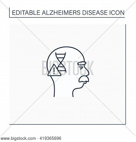 Genetic Cause Line Icon. Apoe E4 Gene. Genetic Predisposition To Disease.alzheimer Disease. Neurolog