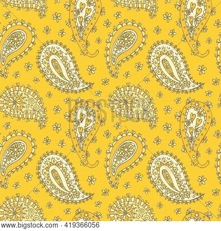 Paisley Floral Pattern, Oriental Floral Seamless Hand Drawn Background
