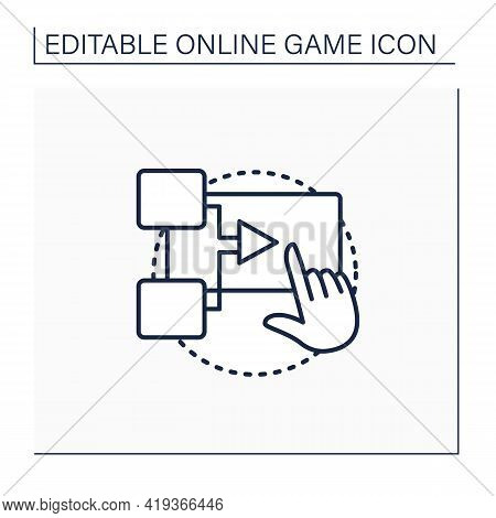 Interactive Movie Line Icon. Presents Gameplay In Cinematic Manner. Actions Change Game Script. Cut