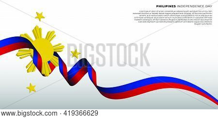 Philippines Independence Day Design With Flying Ribbon. Good Template For Philippines National Day D