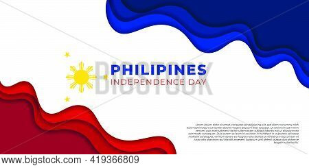 Philippines Independence Day Design With Paper Cut Design. Good Template For Philippines National Da