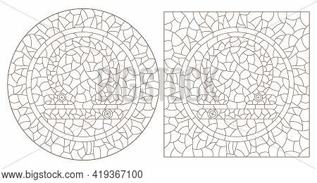 Set Of Contour Illustrations In The Style Of Stained Glass With The Signs Of The Zodiac Libra, Dark