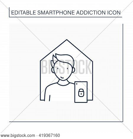 Smartphone Addiction Line Icon. Isolation From Family. Virtual World. Private Place. Overwhelmed Con
