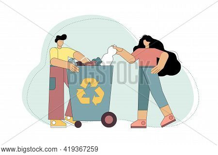 People Throw Garbage In The Trash Can. Waste Sorting. Garbage Collapse. Waste Cleaning