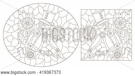 Set Of Contour Illustrations In The Style Of Stained Glass With Steam Punk Signs Of The Zodiac Virgo