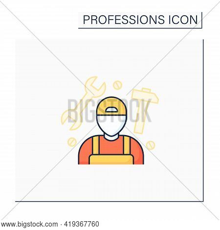 Handyman Color Icon.fixer, Handyperson And Handyworker.repairs Home.important Job.professions Concep