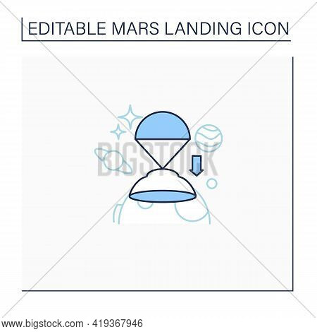 Descend Rover Line Icon. Descending Rover To Surface. Research Uninhabited Land. Mars Landing Concep