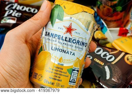 Tambov, Russian Federation - October 30, 2020 Sanpellegrino Limonata Sparkling Drinks Can In Woman H