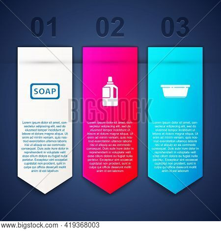 Set Bar Of Soap, Fabric Softener And Plastic Basin. Business Infographic Template. Vector