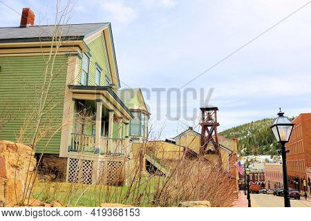 April 25, 2021 In Central City, Co:  Historical Homes And Vintage Buildings On The Main Street Withi