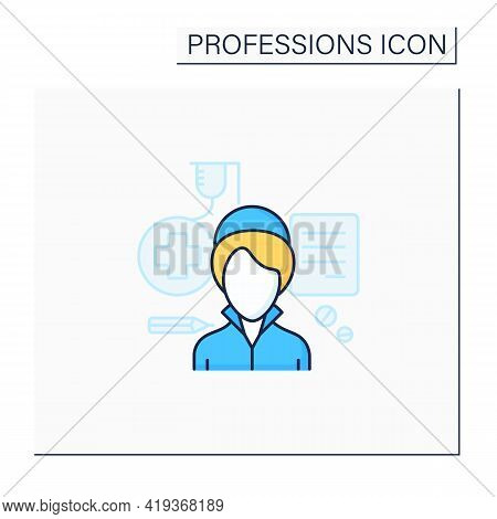 Nurse Color Icon. Woman Treat Patients, Record Medical History.health, Supportive Care About Patient