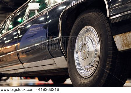 Russia, St.petersburg, 9 April 2021 Armored Limousine Cadillac Fleetwood Brougham For Us Presidents.