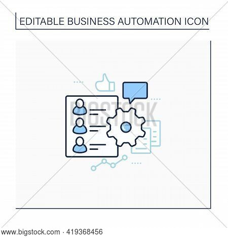 Hr Onboarding Line Icon. Automation Process Hr Onboarding. Attracting New Technical Employees. Busin