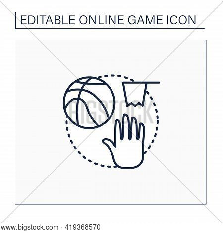 Team Sports Game Line Icon. Playing Games With Friends Online. Basketball Interactive Game. Competit