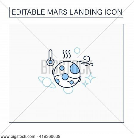 Mars Climate Line Icon.poor Climatic Living Conditions.mars Landing Concept. Isolated Vector Illustr