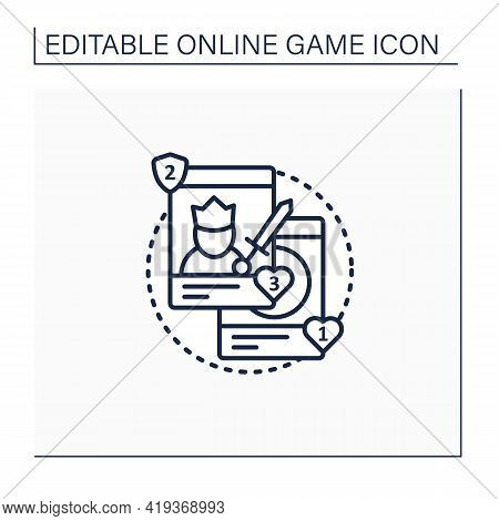 Collectible Card Games Line Icon. Board Games Use Special Card Sets. Exchanged Among Collectors. Roy