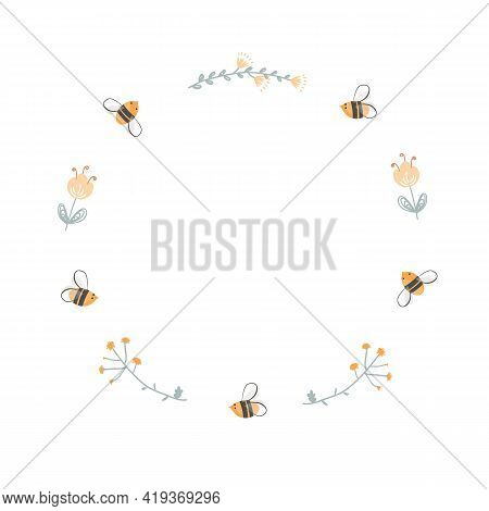 Round Doodle Frame Of Bees And Flowers. Logo Design For Honey And Bee Farms, Apiaries, And Beekeepin
