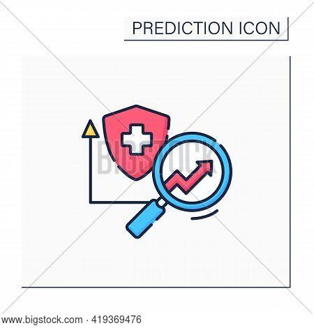 Health Insurance Color Icon. Healthcare Predictive Analytics. Insurance Research. Automatic Optimiza