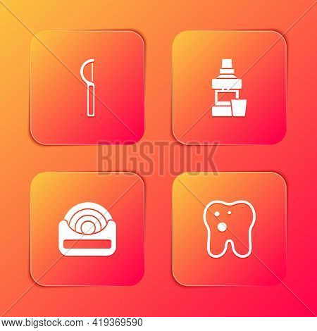 Set Dental Floss, Mouthwash Bottle, And Tooth With Caries Icon. Vector