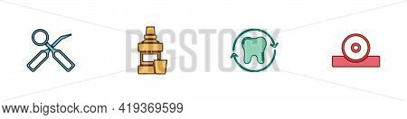 Set Dental Inspection Mirror, Mouthwash Bottle, Tooth Whitening And Otolaryngological Head Reflector