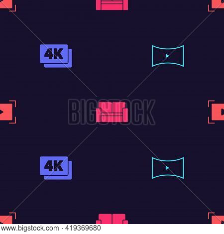 Set Online Play Video, 4k Ultra Hd, Cinema Chair And On Seamless Pattern. Vector