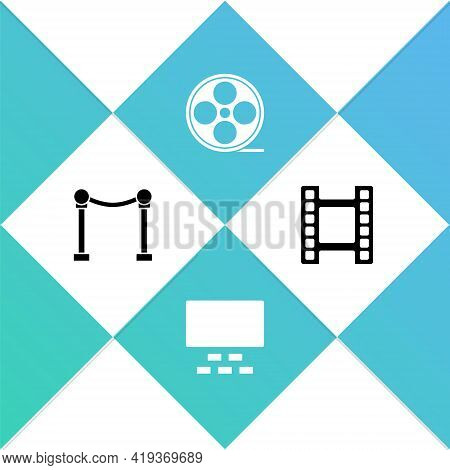 Set Rope Barrier, Cinema Auditorium With Seats, Film Reel And Play Video Icon. Vector