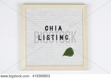 Felt Letter Board With Words Chia Listing . Chia Cryptocurrency Symbol.