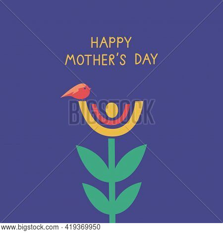 Mother's Day Greeting Card Design With Flower And Bird On It. Creative Mothers Day Card Vector Illus