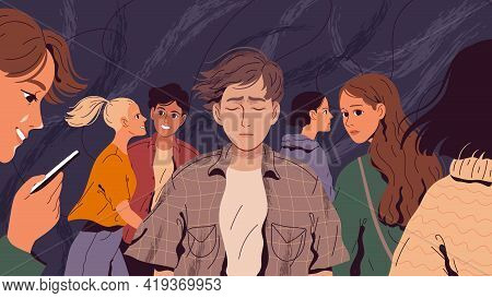 Lonely, Suffering Man In A Crowd Of People Who Do Not Notice Him