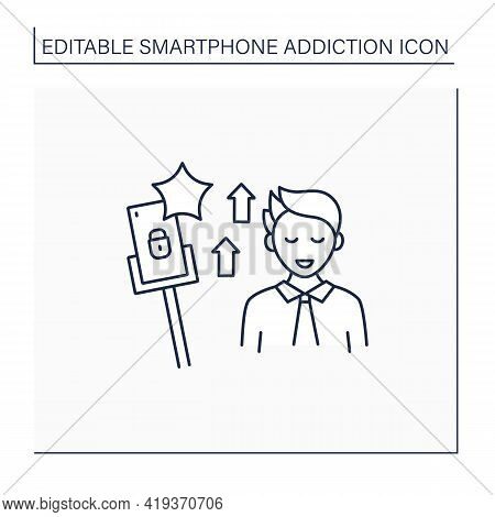 Smartphone Addiction Line Icon.encouraging Self Absorption. Rising Popularity. Overwhelmed Concept.
