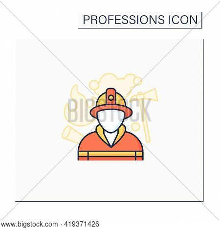 Fireman Color Icon. Firefighter. Man Put Out Fires, Rescue People.dangerous Job.professions Concept.
