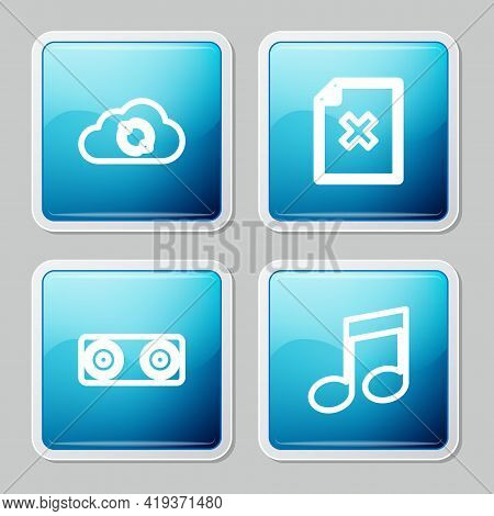 Set Line Cloud Sync Refresh, Delete File Document, Stereo Speaker And Music Note, Tone Icon. Vector