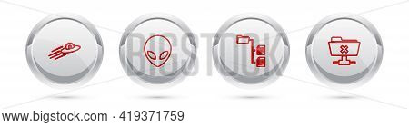 Set Line Ufo Flying Spaceship And Alien, Alien, Folder Tree And Ftp Cancel Operation. Silver Circle