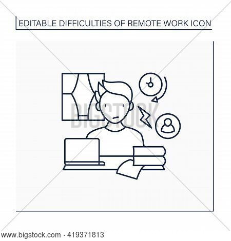 Remote Work Line Icon. Conflict Unaddressed Longer. Stressful Atmosphere At Work.career Difficulties