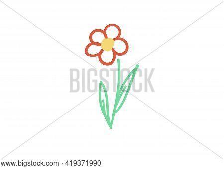 Single Floral Element. Flower Handdraw Simple Vector Illustration.doodle