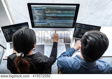 Professional Team Of Programmer Working On Project In Software Development Computer In It Company Of
