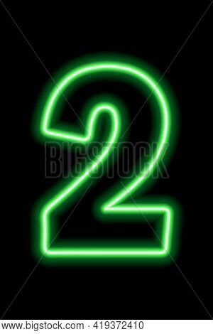 Neon Green Number 2 On Black Background. Learning Numbers, Serial Number, Price, Place. Vector Illus