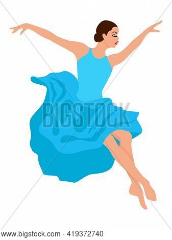 Beautiful Woman Dancer In Soft Blue Dress In Jump, Hand Drawing Vector, Isolated On The White Backgr