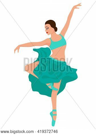 Charming Ballerina In Turquoise Top And Skirt, Hand Drawing Vector, Isolated On The White Background