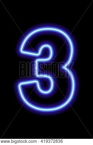 Neon Blue Number 3 On Black Background. Learning Numbers, Serial Number, Price, Place. Vector Illust
