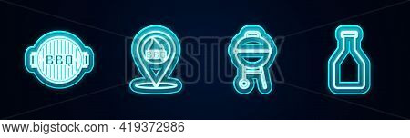Set Line Barbecue Grill, Location With Barbecue, And Ketchup Bottle. Glowing Neon Icon. Vector